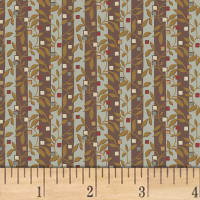Larisa C.1870  Floral Stripe Brown