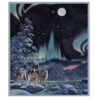 "One Of A Kind Northern Lights Wolf 36"" Panel Multi"