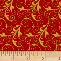 Deck The Halls Scrolls Metallic Red