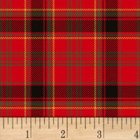 Deck The Halls Plaid Metallic Red