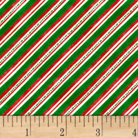 Winter Wishes  Diagonal Stripe Green
