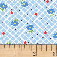 Sugar Sack Floral Check Blue