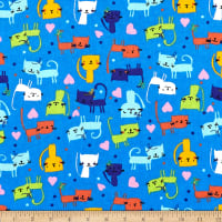 Printed Flannel Cute Kitty Blue