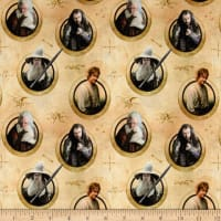 Lord of the Rings Hobbit Characters in Circles Tan