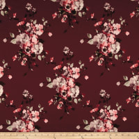 Double Brushed Jersey Knit English Floral Mauve on Wine