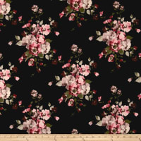 Double Brushed Jersey Knit English Floral Mauve on Black