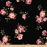 Double Brushed Jersey Knit Distressed Floral Pink on Black