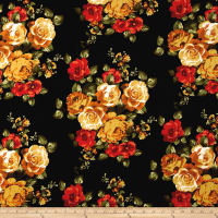 Double Brushed Jersey Knit Rose Bouquet Red/Mustard on Black