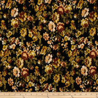 Double Brushed Jersey Knit Floral Bloom Mustard on Black