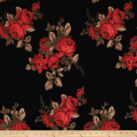 Double Brushed Jersey Knit Vintage Roses Red on Black