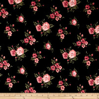 Double Brushed Jersey Knit Mini Floral Bloom Coral on Black