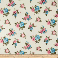 Double Brushed Jersey Knit Mini Floral Bloom Blue/Pink on Ivory