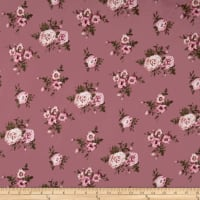 Double Brushed Jersey Knit Mini Floral Bloom Pink on Mauve