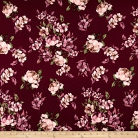 Double Brushed Jersey Knit Floral Tan on Wine