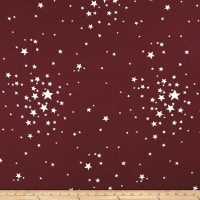Double Brushed Jersey Knit Ivory Stars on Marsala