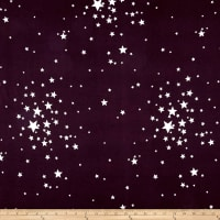 Double Brushed Jersey Knit Ivory Stars on Plum