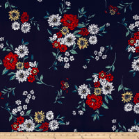 Double Brushed Jersey Knit Floral Bouquet White/Red on Navy