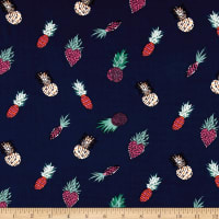 Double Brushed Jersey Knit Pineapple Express Multi on Navy