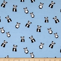 Double Brushed Jersey Knit Panda Light Blue