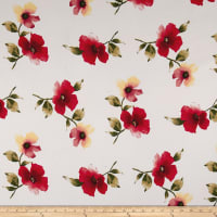 Double Brushed Jersey Knit Floral Red/Yellow on Ivory