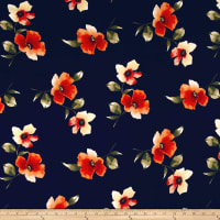 Double Brushed Jersey Knit Floral Orange on Navy