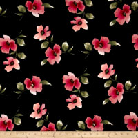 Double Brushed Jersey Knit Floral Pink on Black