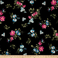 Double Brushed Jersey Knit Enlgish Floral Aqua/Fuschia on Black
