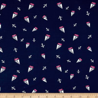 Double Brushed Jersey Knit Sails and Anchors Navy