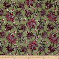 Bubble Crepe Abstract Floral Multi on Olive