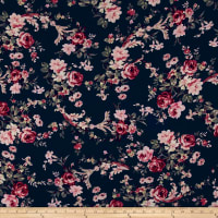 Bubble Crepe English Floral Pink on Navy