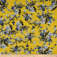 Bubble Crepe English Floral Blue on Yellow