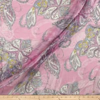 Silk Chiffon Abstract Paisley Pink