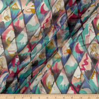 Silk Chiffon Abstract Squares Multi Metallic