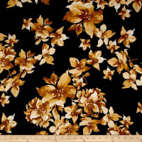 Double Brushed Poly Spandex Jersey Knit Floral Gold on Black