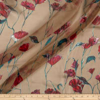 Silk Chiffon Abstract Floral Fuschia on Yellow