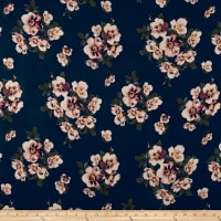 Double Brushed Poly Spandex Jersey Knit Floral Brown on Navy
