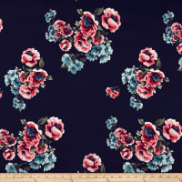 Double Brushed Poly Spandex English Floral Aqua/Coral on Navy