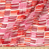Silk Chiffon Abstract Stripes Red/Burgundy