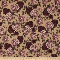 Double Brushed Poly Spandex Roses Mauve on Khaki