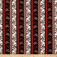 Liverpool Double Knit Bohemian Floral Coral/Ivory/Black