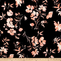Liverpool Double Knit Floral Peach on Black