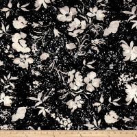 Liverpool Double Knit Floral Black and White