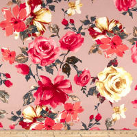 Liverpool Double Knit English Floral Coral on Blush