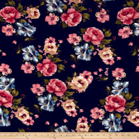 Liverpool Double Knit Roses Mauve on Navy