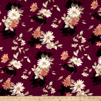 Liverpool Double Knit Floral Taupe on Burgundy