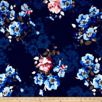 Liverpool Double Knit Luxurious Floral Blue/Navy