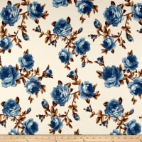 Liverpool Double Knit Roses Blue/Tan