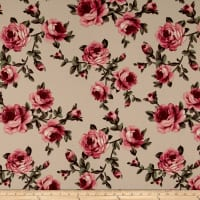 Liverpool Double Knit Roses Mauve/Tan