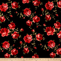 Liverpool Double Knit Roses Red/Black