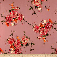 Liverpool Double Knit Roses Orange/Mauve